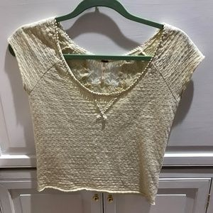 Yellow Free People top with accent back, good cond